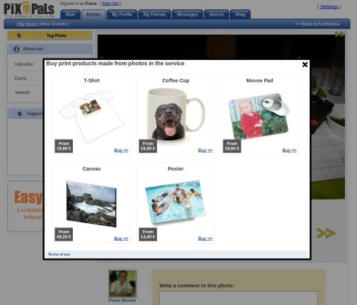 PiX'n'PaLs PhotoProducts feature allowed any website owner to sell photo products from an image. It opened a box from which the user could select which product the image was to be printed on.